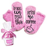 Xpeciall Gift Coffee Socks'If You Can Read This - Bring Me Coffee' Funny Novelty Luxury Socks - Coffee Lovers Gifts for Women Under 25 Dollars (Pink)