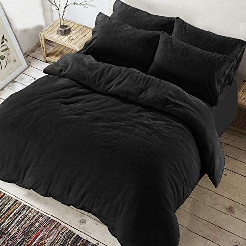ARLINENS Teddy Bear Fleece Duvet Quilt cover, Super Soft Warm Cozy Bedding Set With Pillow Cases in single Double King Super king (Black, Double)