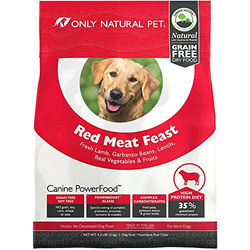 Only Natural Pet Dry Dog Food Canine PowerFood Formula - Made in The USA Paleo Inspired Formula with No Grain, Soy, Corn, Wheat or Oats - Red Meat Feast 4.5 lb Bag