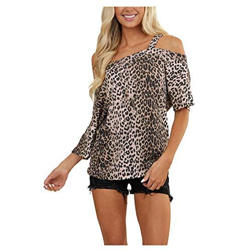 YANFANG Camiseta de un Solo Hombro con Estampado de Leopardo Casual de Moda de Verano para Mujer,Camisetas Estampadas para Mujer Blusa Túnica Tops Blusas,, L,Multicolor