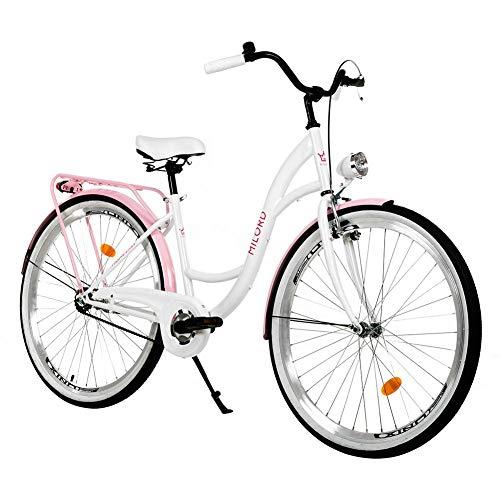 Milord. 26 Zoll 1-Gang Weiß Rosa Komfort Fahrrad mit Gepäckträger Hollandrad Damenfahrrad Citybike Cityrad Retro Vintage