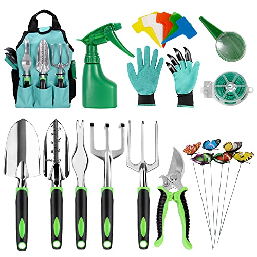 ZITFRI Herramientas de Jardineria 13PCS Kit de Jardineria Herramientas Acero Inoxidable: Pala y Rastrillo Tijeras Jardineria, Rociador Agua, Guantes Jardin, Bolsa Organizador Herramientas Jardin etc