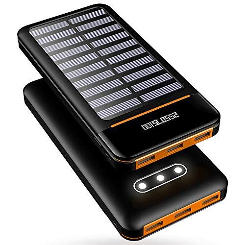 モバイルバッテリー 大容量 25000mAh 3つLEDライト搭載 急速充電 MicroとType入力+3USB出力ポート(各最大2.4A) LCD残量表示 PSE認証済 スマホ多機種に対応 地震・旅行・出張に必需品 (クロ&オレンジ)