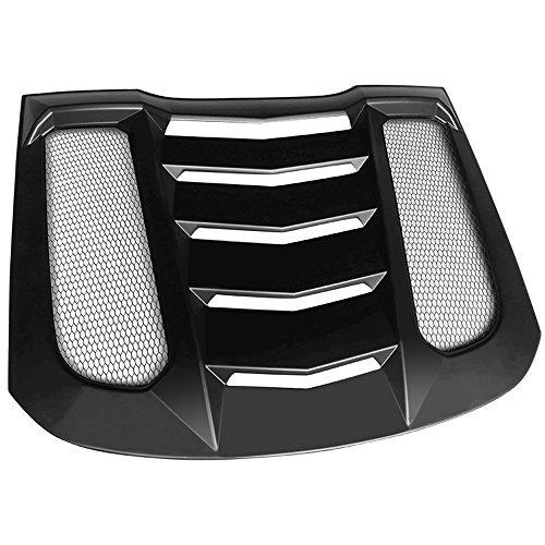 Window Louvers Compatible With 2015-2020 Ford Mustang | IKON V2 Style ABS Plastic Black Rear Window Louver Visors Guards By IKON MOTORSPORTS