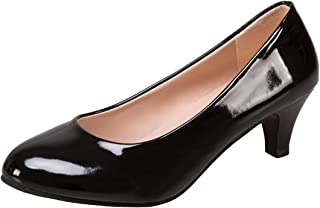 WUIWUIYU Womens Office Kitten Heel Pumps Slip On Evening Dress Court Shoes