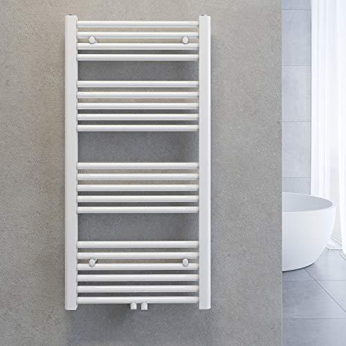 SONNI Handtuchheizkörper Handtuchtrockner Bad Heizkörper Mittelanschluss Handtuchwärmer Badheizkörper Weiß Gerade 50 * 100cm