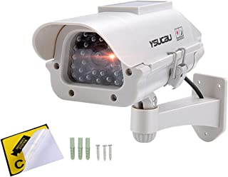 YSUCAU Solar Powered CCTV Security Fake Dummy Camera with Flashing Led Outdoor/Indoor Use for Homes & Business