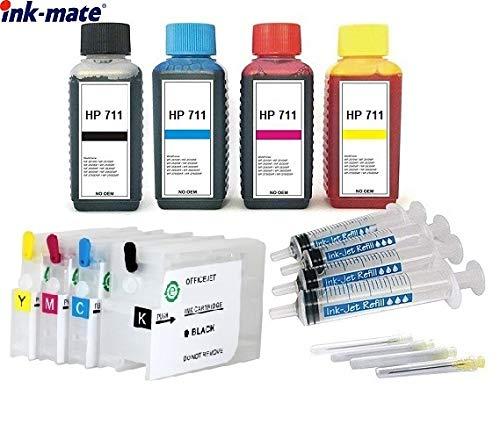 Hervulbare Quickfill Fill-in Easy Refill cartridges HP 711 met Auto Reset Chips + 4 x 100 ml premium navulling zwart, cyaan, magenta, geel voor DesignJet T120 T520 T525 T530-24 + 36 inch