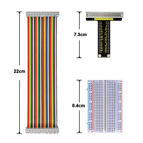 KEYESTUDIO Raspberry Pi GPIO Kabel Erweiterungsplatine, Lötfreie Steckplatine mit 400 Verknüpfungspunkten, 40-poliges Jumper-Flachbandkabel für Raspberry Pi 4/3/ 2/1/Zero/B B+ A A+