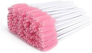 300 Pcs Set Mascara Wands Disposable Eye Lash Brushes for Eyelash Extensions Makeup Applicator Tool Bulk, White/Pink