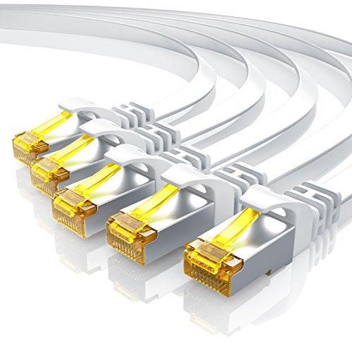 5 x 0,25m CAT 7 Netzwerkkabel Flach - Ethernet Kabel - Gigabit Lan 10 Gbit s - Patchkabel - Flachbandkabel - Verlegekabel - Cat.7 Rohkabel U FTP PIMF Schirmung mit RJ 45 Stecker - Switch Router Modem