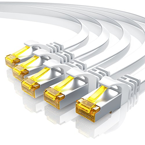 5 x 0,5m Cavo di Rete Cat 7 Piatto - Cavo LAN Ethernet Gigabit 10000 Mbit s Piatto - Cavo Patch - Cavo a schermatura U FTP PIMF con connettori RJ45 - Router Modem Access Point Switch - Bianco 5 Pezzi