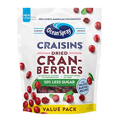 Ocean Spray Craisins Dried Cranberries, Reduced Sugar, 20 Ounce Value Pack