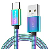 Polaroid 5ft USB C Cable - Universal USB Type C Charging Cable for Smartphone - Flexible USBC Charger Cable - USB-C Cables for Android Phone, Tablet, Samsung Galaxy Cord - Colorful/Iridescent