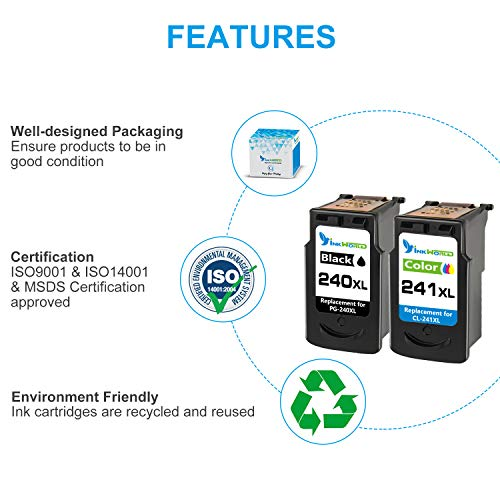 InkWorld Remanufactured 240XL 241XL Ink Cartridge Replacement for Canon PG-240 CL-241 XL to Use with Pixma TS5120 MG3620 MG3520 MX472 MG3220 MX452 MX532 MX512 MG2120 MX432 Printer (Black Color) 2-Pack Photo #4