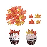 GEORLD Edible Fall Leaves Set of 48 Cake Decorations, Autumn Cupcake Topper 2 Colors...