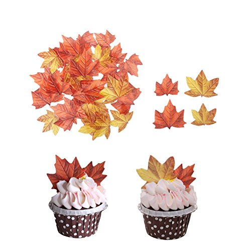 GEORLD Edible Fall Leaves Set of 48 Cake Decorations, Autumn Cupcake Topper 2 Colors