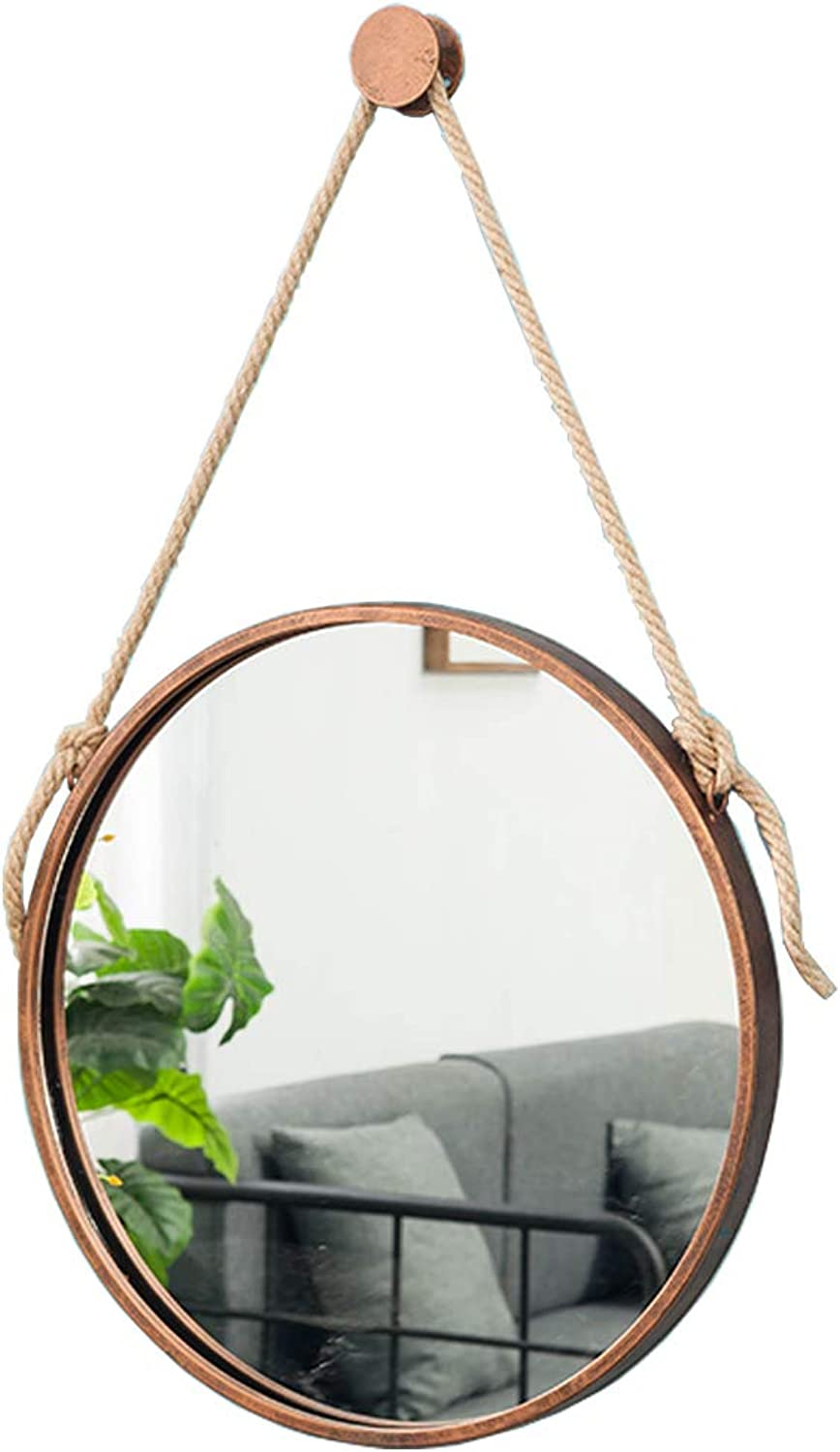 Decorative Mirror (Size   12-32Inch) Bronze Metal Wall Hanging Mirror with Hemp Rope Round Makeup Bathroom Mirrors Creative Vanity Shaving Iron Mirrors Large