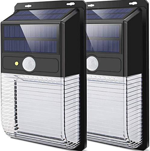 GANE LED-Solarleuchten Außenbewegungssensor, Superhelle kabellose Solar-Sicherheitsleuchten mit doppeltem Solarpanel, wasserdichte solarbetriebene IP65-Wandleuchten