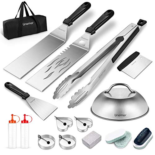 Unomor Griddle Accessories Kit, 18PCS Flat Top Grill Tools Set with Cleaning Tool, Spatula, Basting Cover, Tongs, Scraper, Carrying Bag - Griddle Utensils Kit for Outdoor BBQ, Teppanyaki and Camping