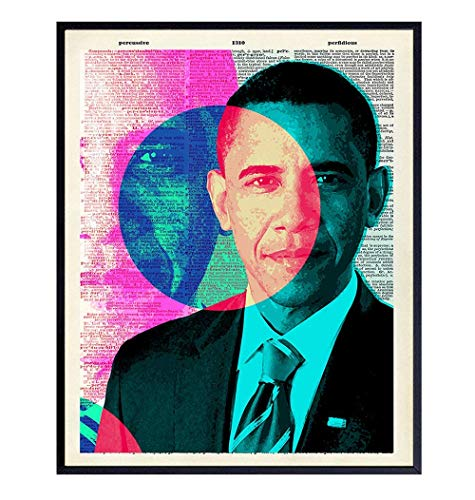 Barack Obama Poster - 8x10 Modern Pop Art Contemporary Wall Decor, Room or Home Decoration - Original Unique Gift for Black African American, Liberal - Andy Warhol Style Picture Print - UNFRAMED