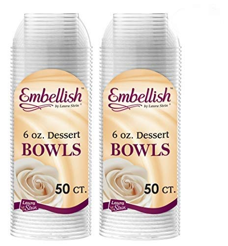 Embellish Clear Disposable Heavy Duty Plastic 6 Oz Dessert Bowls 100 Count, Ideal For Wedding, Catering, Parties, Buffets, Events, Or Everyday Use, 2 Packs