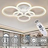 RUYI plafón LED moderno regulable control remoto 6 anillos plafón 72W 6400LM, plafón para sala de estar, dormitorio, cocina, pasillo, balcón, comedor, blanco, 2800-7000K