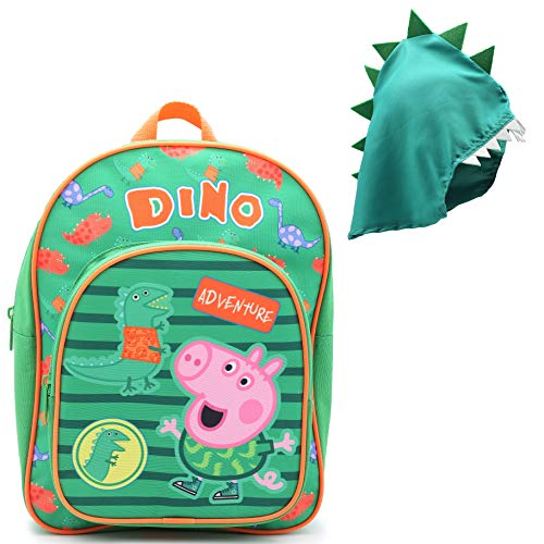 Peppa Pig George and Mr Dinosaur Adventure Backpack | Kids Rucksack with Detachable Dinosaur Hood | Green Canvas Child Backpack, Perfect As A School Bag, Nursery Or Preschool Bag, Kids Travel Bag