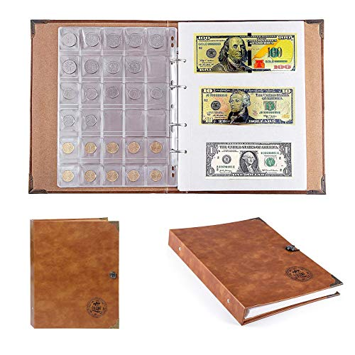 Phonleya Coin Collecting Holder Album Paper Money Currency Collection Book, 150 Coins and 240 Banknotes Large Storage Book for Collector