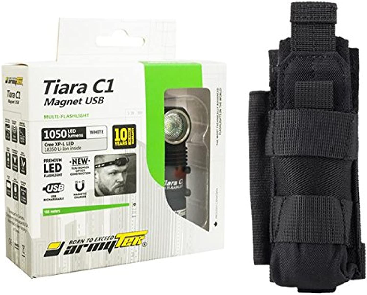 Combo  Armytek Tiara C1 Pro v3 XPL LED USB Rechargeable Headlamp 1050 Lumens Battery Included w NCP30 Holster