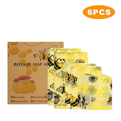Bijenwas Wrap, Set van 6 Herbruikbare Bijenwas Voedsel Wraps Eco Vriendelijke Biologische Sandwich Wrappers Zero Waste Duurzame Biologisch Afbreekbare Plastic Gratis Voedselopslag