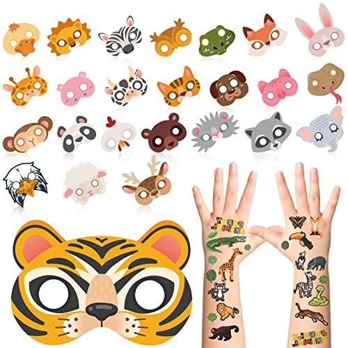 Maitys 25 Piezas Mscaras de Animales de Papel Mscaras de Disfraces de Animales de Halloween y 2 Pegatinas de Tatuaje Temporal de Animal de Safari Selva Accesorio de Fiesta Disfraz Cosplay