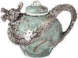"Blue Sky Ceramic Dragon Teapot, 10 x 7 x 7"", Green"