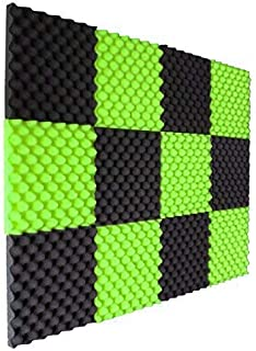 12 Pack Lime Green/Charcoal Slim egg crate foam acoustic foam tiles soundproofing foam panels sound insulation soundproof foam padding sound dampening Studio sound proof padding 1