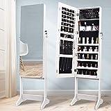Armario para joyas con espejo, organizador de joyas, armario con espejo, armario de espejo ajustable, joyas para cadenas, espejo con cerradura, con llave, color blanco
