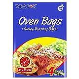 WRAPOK Bolsas para horno de cocina para la carne de pollo de Turquía Carne de aves de corral Pescado Vegetal de mariscos - 4 bolsas (17 x 21.5 pulgadas)