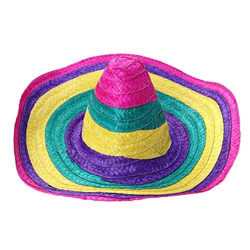 Amosfun Sombrero Sombrero de Paja Hawaiano Mexicano Fiesta Sombreros para Hombres Mujeres