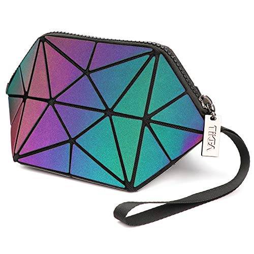 Tikea Geometrische Make up Tasche, Kosmetische Handtasche, Faltbar Kunstleder Aufbewahrungstaschen, Holographische Messenger Geldbörse für Frauen Mädchen Leuchtend