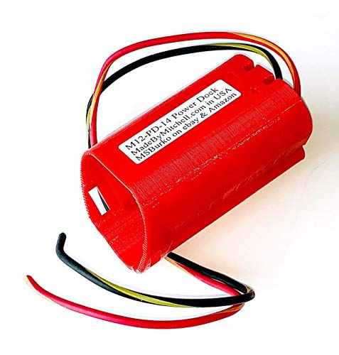 M12 Holder for Milwaukee Battery Mount Wired 14AWG Power Your DIY, Robot, e-Bike, Lights, Tools PN M12-PD-14