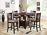 Poundex Brown Finish W/Beige Fabric Counter Height Dining Set