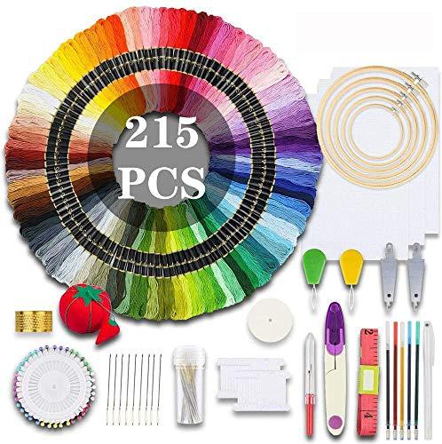MEISO Stickerei Set, 215 STK Stickerei Starter Kit Kreuzstich Tool Kit Einschließlich 100 Farben Fäden, 5 STK Stickrahmen, 3 STK Aida-Stoff, Stickrahmen Kreuzstichwerkzeuge und Stickstarter-Kit