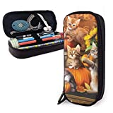 Yuanmeiju Cat and Pumpkin Estuche for Boys and Girls Large Pencil Pouch Holder Pen Case for Student College School Supplies & Office