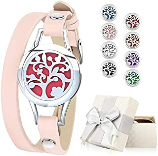 Essential Oil Diffuser Bracelet, Aromatherapy Bracelet Jewelry Stainless Steel Locket Leather Band with 8pcs Washable Refill Pads Birthday Gifts for Women,Girlfriend, Mother,Sister,Aunt