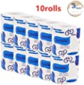 Sehrgud 10 Rolls Toilet Paper Soft Strong Toilet Tissue Home Kitchen 3 Layers Toilet Tissue for Daily Use