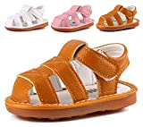 Boys Girls Summer Squeaky Sandals Closed-Toe Anti-Slip Premium Rubber Sole Toddler First Walkers Shoes Yellow 1302-YL19(Foot length 12.5cm/4.9in)