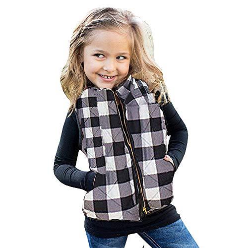 Dasongff Kindervest voor baby en peuters, geruit vest, ademend vest voor jongens en meisjes, met ritssluiting, mouwloos outwear jack 100 wit