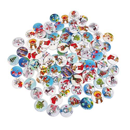 Healifty 100pcs Botones Redondos de Madera Botones Decorativos de Navidad 2 Agujeros Botones para Coser DIY confección de Ropa 1.5cm
