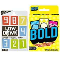 "Mattel Games Low Down Card Game: Just like a golfer, you're shooting for the lowest score possible. Players set up their own ""grids"" of nine cards, face down. Use strategy to decide how much of your deck you want to reveal. Special cards like Swap, S..."