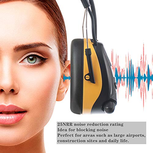 PROTEAR AM FM Hearing Protector, Ear Protection Safety Earmuffs with Stere Raido, Noise Reduction Muffs for Mowing, Snowblowing, Construction, Work Shops, 25dB NRR (Yellow)