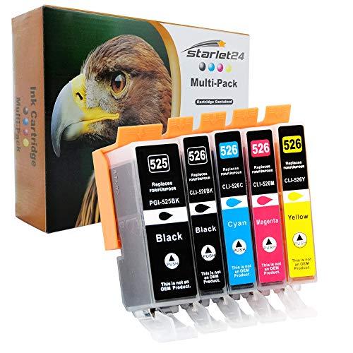 5er-Set D&C Druckerpatronen kompatibel für Canon PGI-525 CLI-526 iP4800 iX6550 MG5100 MX710